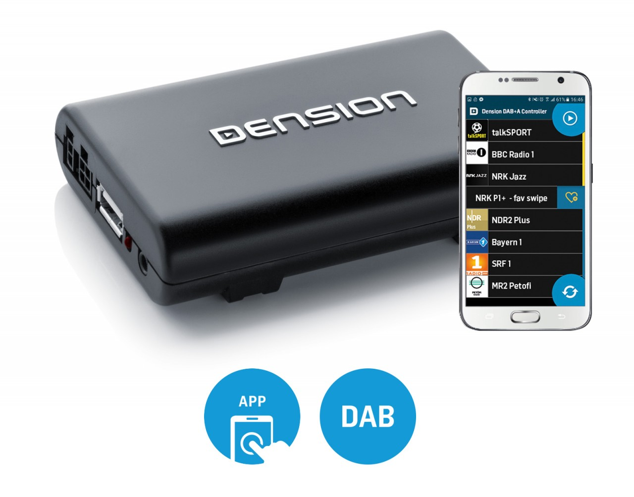 dab a app controlled dab device for your car dension. Black Bedroom Furniture Sets. Home Design Ideas